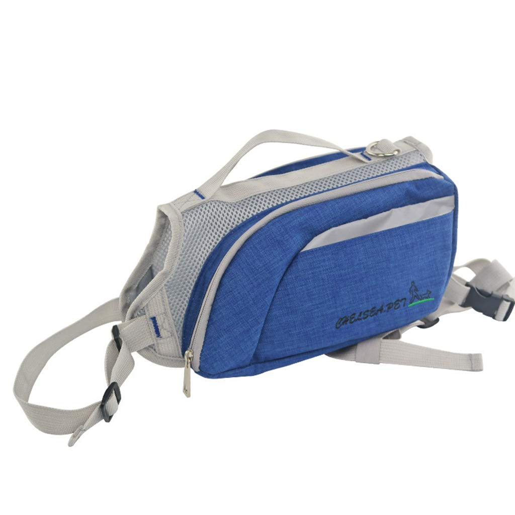 bluee Dog Backpack Dog Backpack Pet Training Pet Out Traction Bag Training Dog Pet Supplies Suitable for Bust 50Cm,bluee