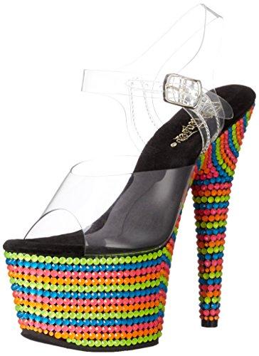 Pleaser Adore-708rbs - Sandalias Mujer Mehrfarbig (Mehrfarbig (Clr/Neon Multi))