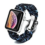 Bellamei Compatible Apple Watch 4 Band 44mm 40mm Paracord iWatch Band 38mm 42mm Survival Bracelets Sport Wristbands for Series4/3/2/1 Nike+ Edition (Black Blue, 44mm/42mm)