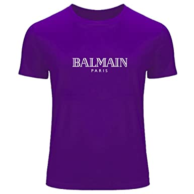 2a7cddfb Balmain Logo Printed for Men's T-Shirt Tee Outlet: Amazon.co.uk: Clothing