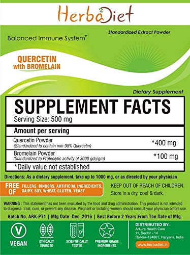 Quercetin with Bromelain Extract Powder Immune Health Antioxidant Cardio Support (500 Gram)