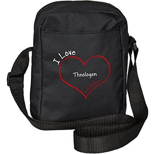 Umhängetasche Modern I Love Theologen schwarz