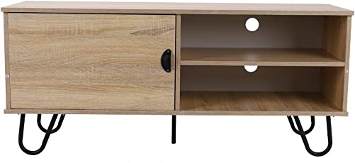 Modern TV Stand TV Console Cabinet with 2 Storage Shelves, Door and Metal Hairpin Legs for Home