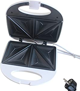 Electric Waffle Maker Deep Fill Sandwich Toaster Press, Two Portion,Non-stick Stainless Steel 750W,EU Plug-24 X 7.5 X 23.5 Cm