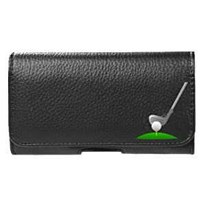 for Alcatel One Touch Conquest Faux Leather Golf Pouch Belt Clip Case Cover Stylus Pen Velocity ™