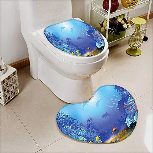 L-QN Soft Toilet Mat 2 Pieces Set Decor Underwater Coral Reef Polyps Algae Dolphins Goldfishes Bubbles Deep Print Blue -