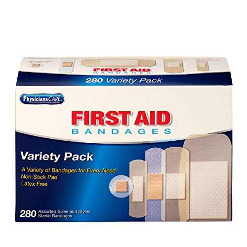 - PhysiciansCare by First Aid Only Adhesive Bandages, Sheer and Clear, Assorted Sizes, 280 Count (Package may vary)