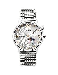 Graf Zeppelin Luna Swiss Quartz Watch with Swarovski Crystals and Moonphase 7637M-1