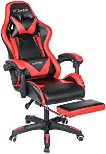 Gaming Chair BlitzWolf Office Chair Ergonomic Computer Chair PC Gaming Chair with Footrest 150°Reclining Detachable Pillows Armrest Home Office Red