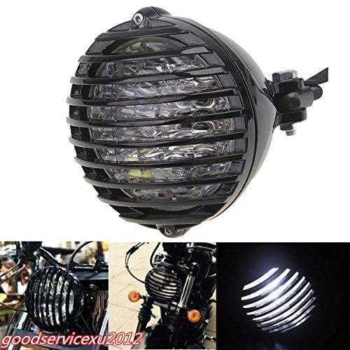 scooter DC12V Black Shell Motorcycle Finned Grill Cover White LED Headlight Waterproof - Black & White Springer