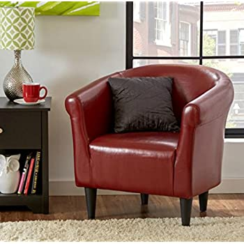 Zipcode Contemporary Club Chair - This Faux Leather Barrel Seat Is a Perfect Addition to Your Living Room or Bedroom - This Accent Furniture Is Also Made of Wood - Satisfaction Guaranteed! (Merlot)