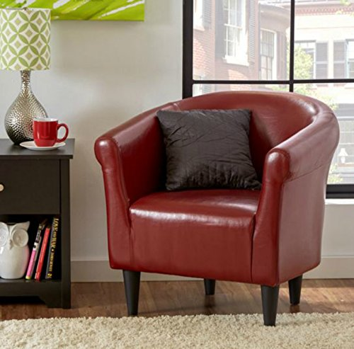 Zipcode Contemporary Club Chair - This Faux Leather Barrel Seat Is a Perfect Addition to Your Living Room or Bedroom - This Accent Furniture Is Also Made of Wood - Satisfaction Guaranteed! (Merlot) (Chair Sale Red Club Leather)