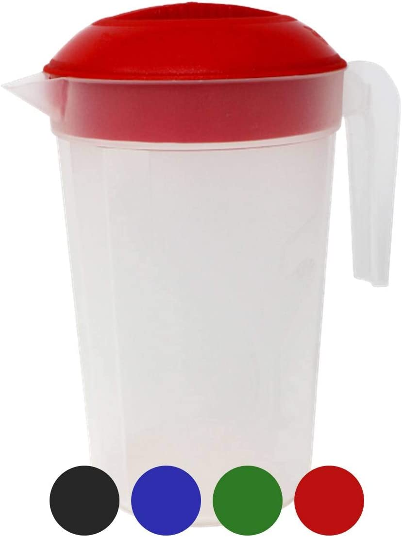 Tribello 3 Liter Water Pitcher, Plastic Juice Pitcher With Lid - MEDIUM - Colors May Vary - Colors May Vary (3 Liter)