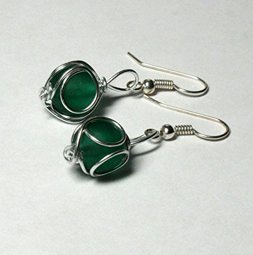 (Wire-Wrapped Green Sea Glass Earrings by BethExpressions)