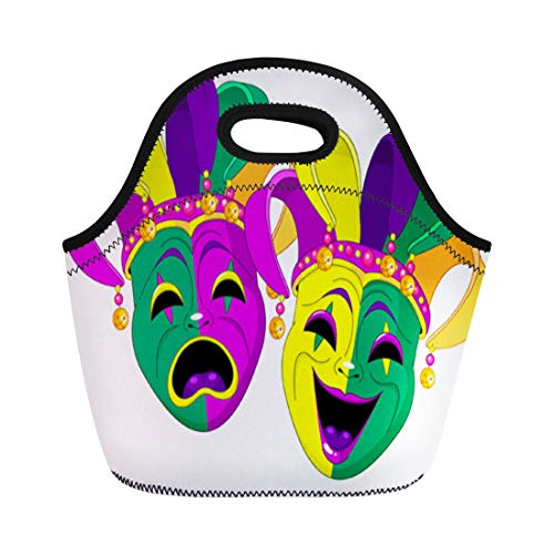 Semtomn Neoprene Lunch Tote Bag Purple Carnival Mardi Gras Comedy and Tragedy Masks Green Reusable Cooler Bags Insulated Thermal Picnic Handbag for Travel,School,Outdoors,Work