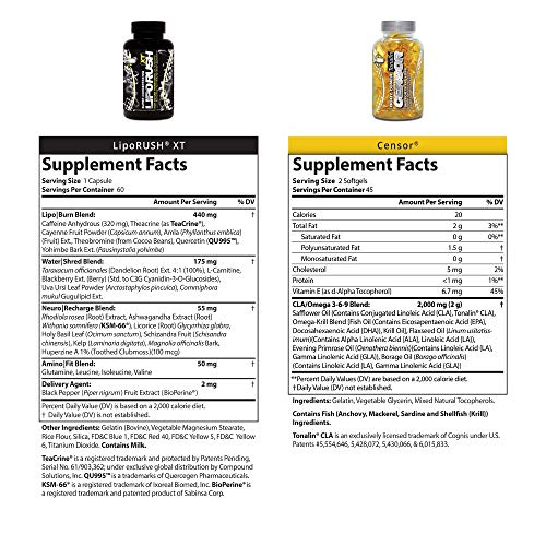 NDS Nutrition Maximum Strength Dual Impact Stack - Complete 2-in-1 Fat Loss Stack Enhanced with Teacrine, L-Carnitine, CLA for Serious Results - Censor 90 Softgels & LipoRush XT 60 Capsules by LIPORUSH (Image #1)