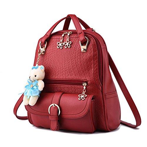 Para mujer Bolsos mochila Bolsos bandolera Carteras de mano Mochila escolar Bolsa para portátil Cuero Azul Oscuro Burdeos