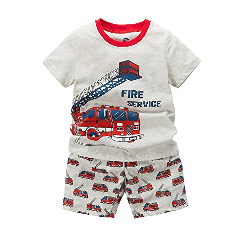 B.GKAKA Toddler Clothes Boys The Fire-Engine Short Cotton Pajamas (3 - Engine Childrens Fire