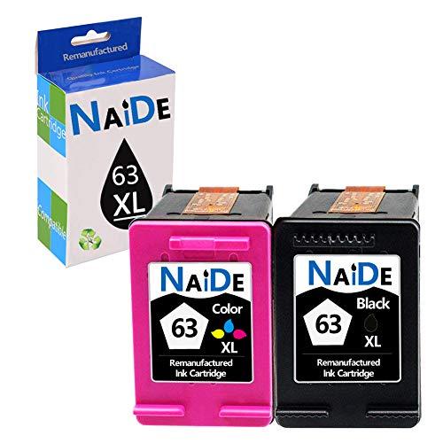 NAIDE Remanufactured Ink Cartridge Replacement for HP 63XL 63 XL for Officejet 3830 Officejet 4650 Officejet 4655 Deskjet 1110 Deskjet 2130 Envy 4520 Envy 4512 Printer(1 Black,1 Tri-color) ()