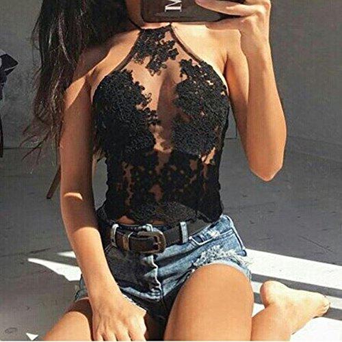 Sin Camiseta Negro Para Mangas Mujer Leezeshaw 7CS1wx5w