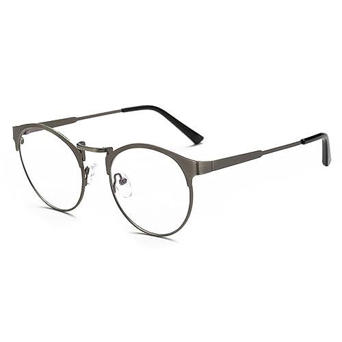 Hombres Mujeres anteojos de luz azul – Marco de metal redondo anteojos Marco de anteojos claro con caja de anteojos de cuero – hibote
