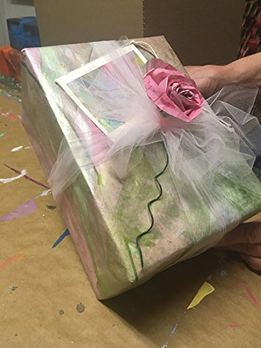 Pink/Green/Champagne Gold Gift Wrap-1 sheet-26''X 60''-Brushed by PAINTED PAPERS Hand Painted Gift Wrap/Design Papers-Made in the USA