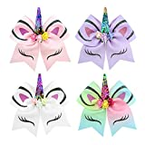 RoterSee 7 Inch Unicorn Shape Cheer Hair Bows Girl Large Boutique Clip Hairbows Accessories (4 PCS)