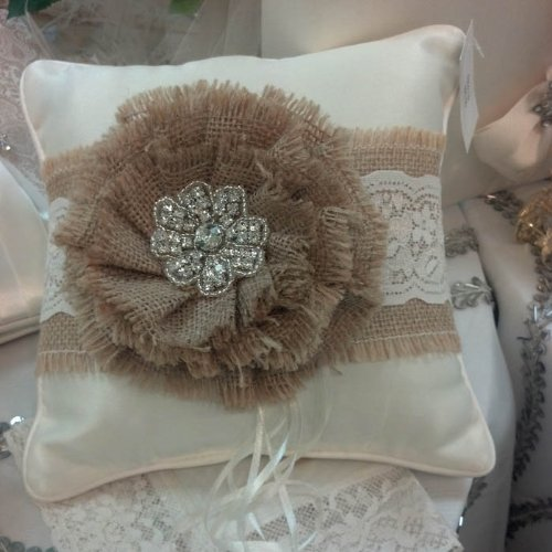 RaeBella New York Satin Ring Pillow with Burlap Lace & Brooch Flower for Traditional Wedding Ceremony (IVORY)