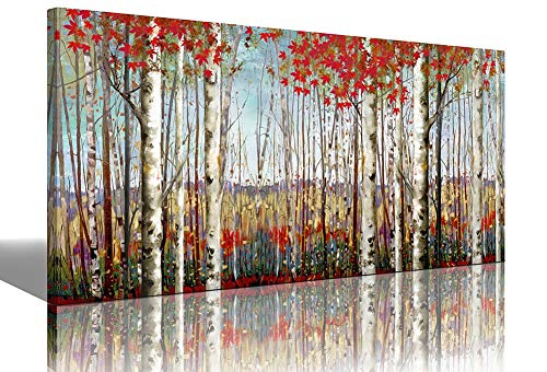 (Large Wall Art White Birch Forest with Red Leaves Painting Canvas Wall Art Decor Autumn Wildlife Landscape Modern Artwork Decoration for Living Room Bedroom Office Home Size)