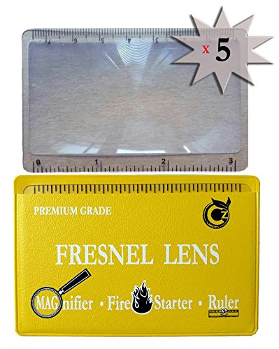 PREMIUM GRADE Fresnel Lens Pocket Wallet Credit Card Size - Magnifier - Solar Fire Starter - Ruler - UNBREAKABLE Plastic for Home Office Classroom & Outdoor EDC Survival Kit Bushcraft Premium Document Wallet