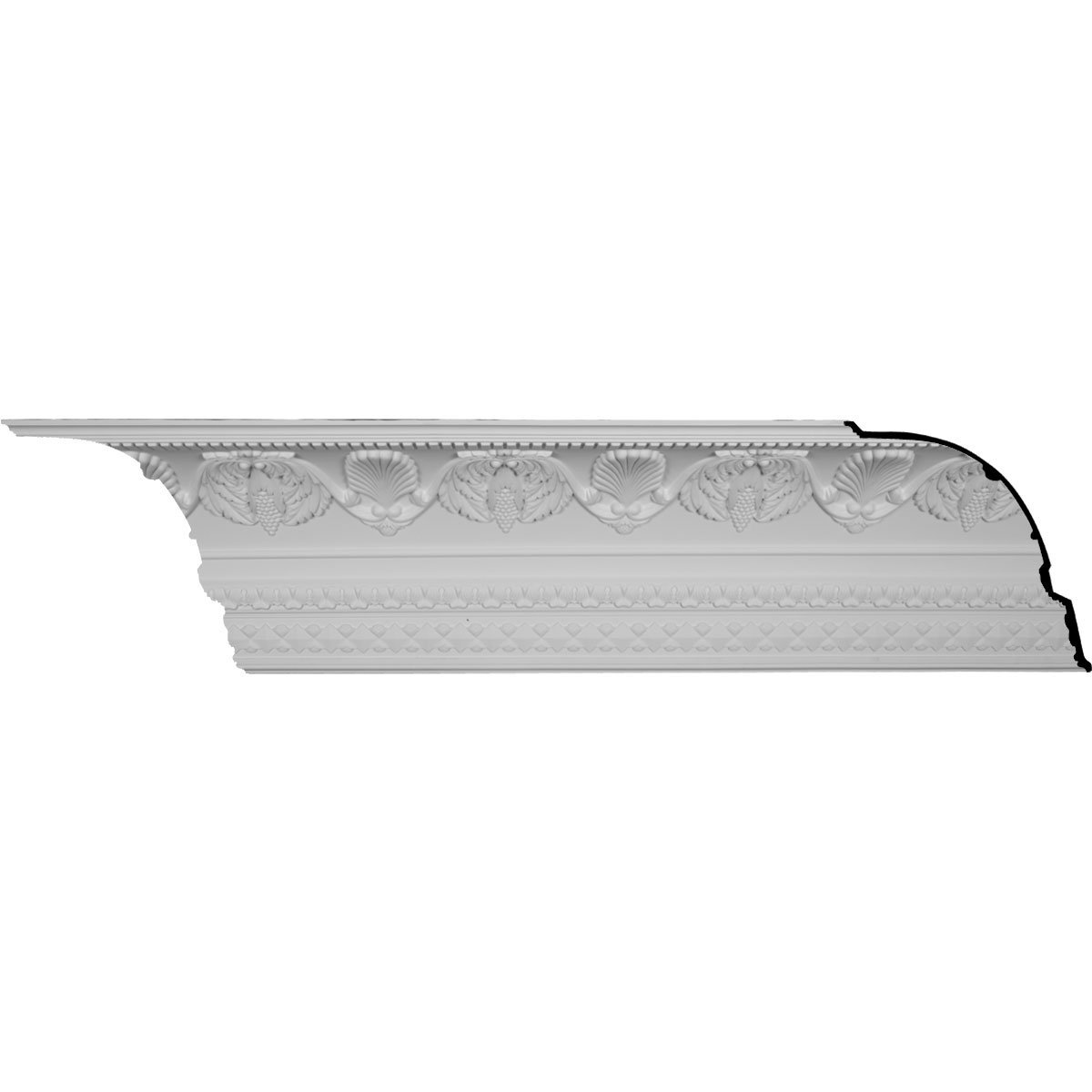 Ekena Millwork MLD16X14X21HA-CASE-12 16-3/8'' H x 14-1/8'' P x 21-5/8'' F x 96-1/8'' L Cove Harvest Crown Molding with 9-5/8'' Repeat (12-Pack)