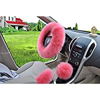 Faceyoung Fashion Steering Wheel Covers for Women/Girls/Ladies Australia Pure Wool 15 Inch 1 Set 3 Pcs (Pink)