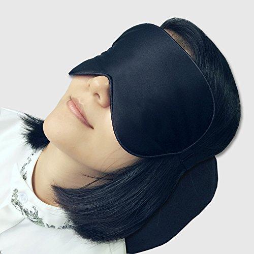 LinkHealth 100% Natural Silk Eye Mask / Sleep Mask for Light Sleeper / Women / Men / Kids * Super Smooth Blindfold for Travel / Shift Work / Meditation - Black
