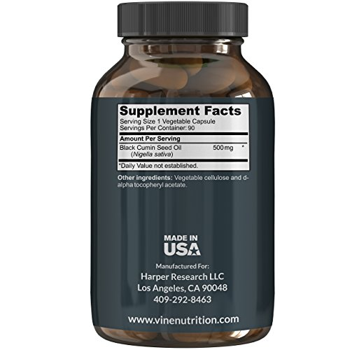 Premium Black Seed Oil Capsules - Nigella Sativa - Immune System Support Soft Gels | Cold Pressed Antioxidant Vegetarian Black Cumin Supplement | 500MG Made In The USA By Vine Nutrition by Vine Nutrition (Image #1)
