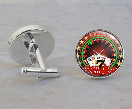 Casino Gambling Vice Roulette Poker Dice .925 Sterling Silver Cufflinks ()