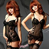 Sexy Lingerie Black Camisole with Stockings + Garter Belt + G-string A010033