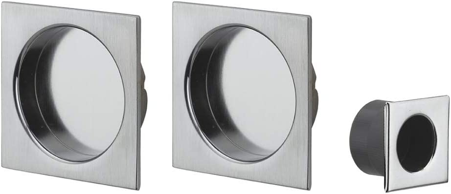 Accesorios para puerta corredera cromado satinado, rosetones cuadrados: Amazon.es: Bricolaje y herramientas