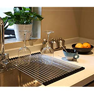 Wide Roll up Dish Drying Rack Over The Sink Folding Dish Rack Portable Dish Drainers for Kitchen Sink Counter Roll-up