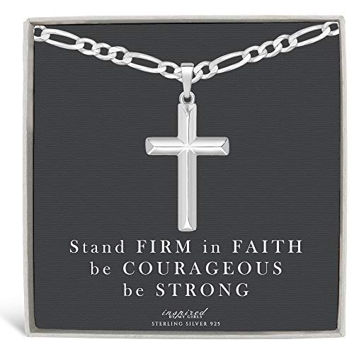 Mens Sterling Silver Cross Necklace Figaro Chain and Faith Card Gift - 120-18