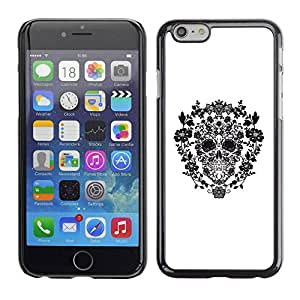 PC/Aluminum Funda Carcasa protectora para Apple Iphone 6 White Black Floral Spring Pattern Skull / JUSTGO PHONE PROTECTOR