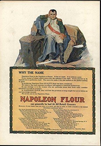 Napoleon Stone - Napoleon Rests Stone Throne Ponders Flour 1909 antique color advertisement print