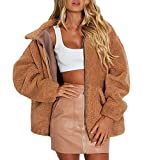 XOWRTE Women's Lapel Faux Shearling Warm Winter Jacket Overcoat Outwear Coat