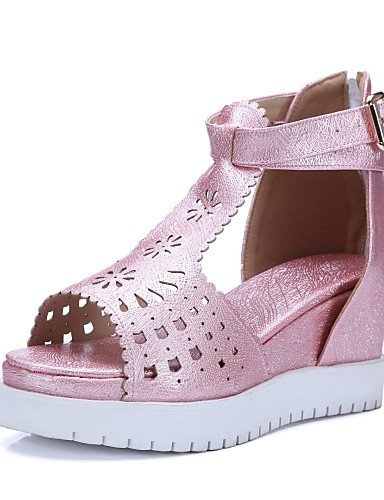ShangYi Womens Shoes Leatherette Wedge Heel Wedges / Peep Toe Sandals Casual Pink / White Pink