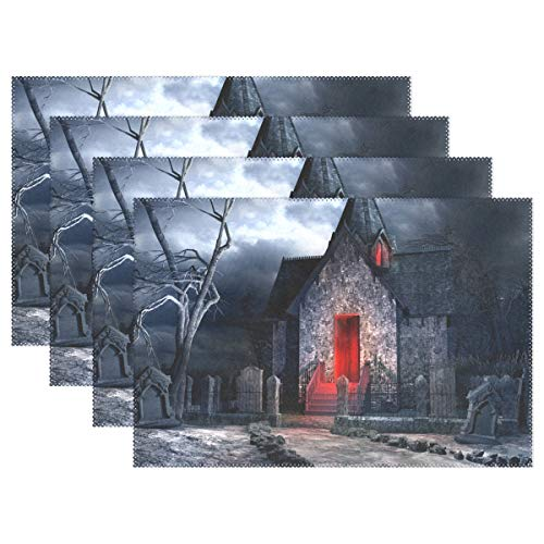 (My Little Nest Washable Placemats Halloween Creepy Old Crypt Heat Resistant Table Mats for Holiday Party Kitchen Dining Table Set of)