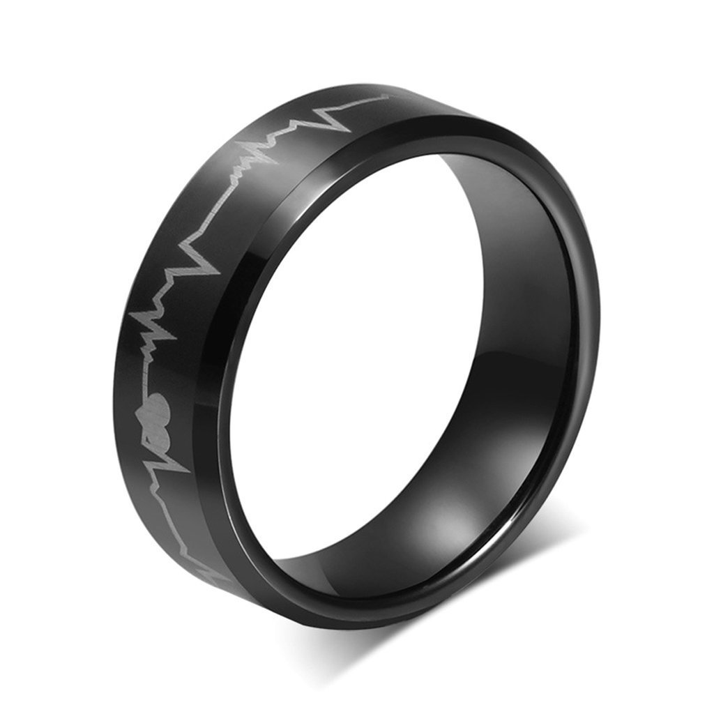 Tianyi Stainless Steel Black IP Heart Beat Laser Men's Aniversary Engagement Wedding Band Ring Size 9
