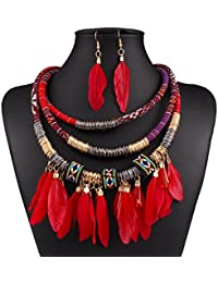 Feather Pendant Multi Layers Tribal Bib Necklace Statement Earring Jewelry Set