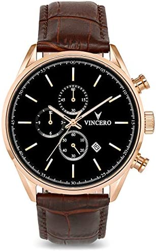 Vincero Luxury Men's Chrono S Wrist Watch - Top Grain Italian Leather Watch Band - 43mm Chronograph Watch - Japanese Quartz Movement…