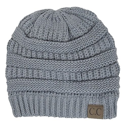 03af14de74ab5 C.C Women s Thick Slouchy Knit Beanie Cap Hat One Size Light Grey ...