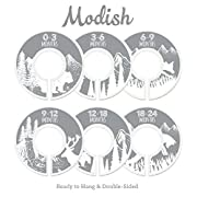 Modish Labels Baby Nursery Closet Dividers, Closet Organizers, Nursery Decor, Baby Boy, Baby Girl, Gender Neutral, Woodland, Tribal, Woodland Animals, Bear, Fox, Deer, Gray, Grey, White (Gray)