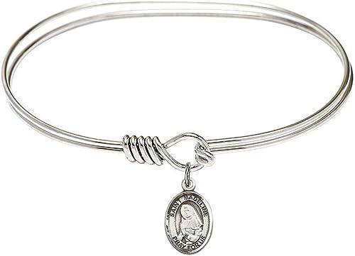 5 3//4 inch Oval Eye Hook Bangle Bracelet with a St Columbanus charm.